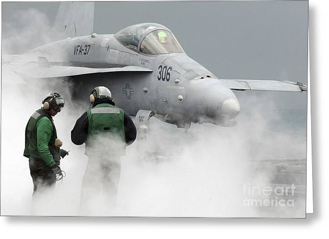 Flight Deck Personnel Are Surrounded Greeting Card by Stocktrek Images