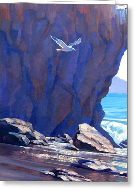 Flight Over El Matador Greeting Card by Elena Roche