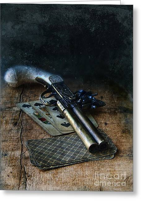 Flint Lock Pistol And Playing Cards Greeting Card