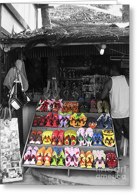 Greeting Card featuring the photograph Flip Flops Anyone by Victoria Lakes