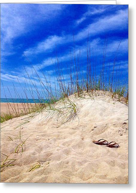 Flip Flops In The Sand Greeting Card