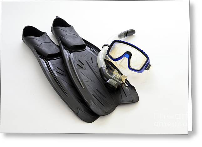 Flippers, Mask And Snorkel Greeting Card by Photo Researchers