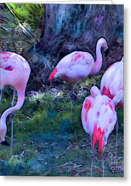 Greeting Card featuring the painting Flippin' Flamingoes by Elinor Mavor