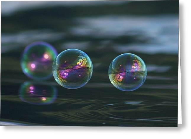Greeting Card featuring the photograph Floating Bubbles by Cathie Douglas