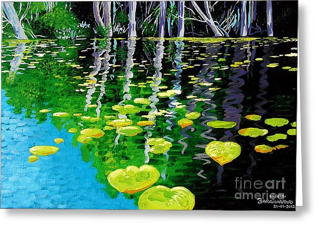 Floating Colors Greeting Card by Jose Miguel Barrionuevo