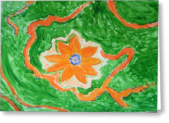 Greeting Card featuring the painting Floating Flower by Sonali Gangane