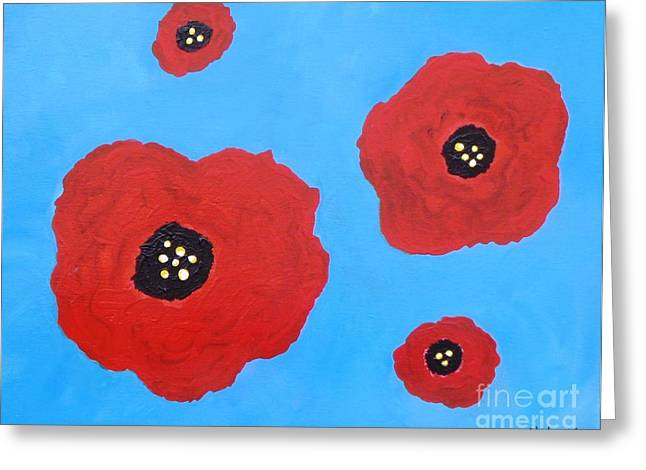 Greeting Card featuring the painting Floating Flowers by Alys Caviness-Gober