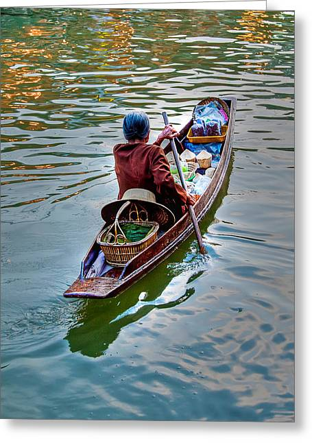 Floating Market Greeting Card by Adrian Evans