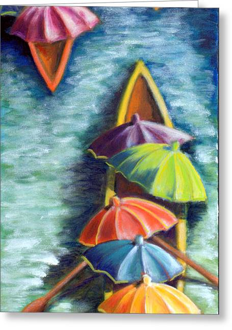 Floating Umbrellas Greeting Card
