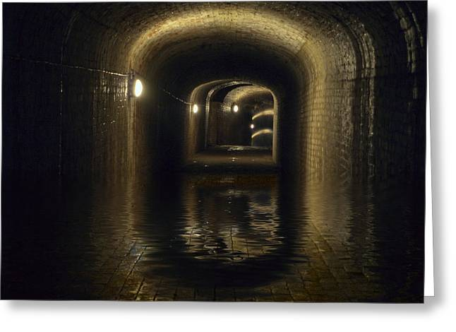 Flooded Tunnel Greeting Card by Steev Stamford