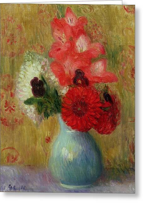 Floral Arrangement In Green Vase Greeting Card