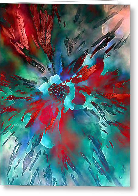 Floral Eruption Greeting Card by AnneLise McCoy