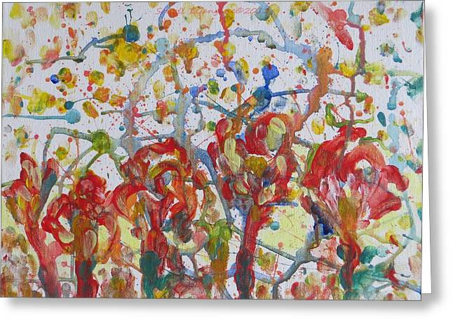 Greeting Card featuring the painting Floral Feel by Sonali Gangane