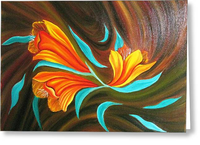 Floral Friendship-abstract Painting Greeting Card by Rejeena Niaz