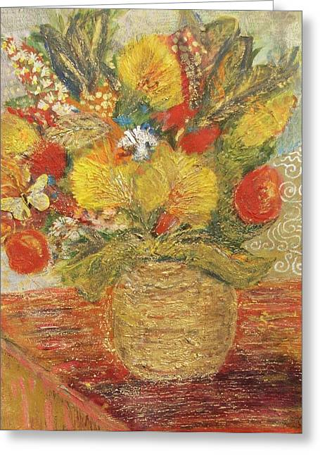 Floral In Vase With A Bow Greeting Card by Anne-Elizabeth Whiteway