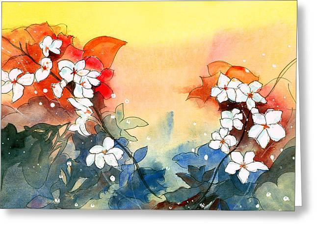 Floral Neklace Greeting Card by Anil Nene