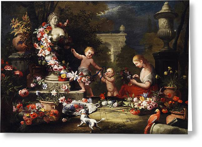 Floral Offering To The Goddess Venus Greeting Card by Abraham Brueghel