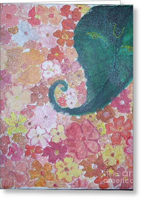Floral Offerings To Lord Ganesha Greeting Card by Sonali Gangane