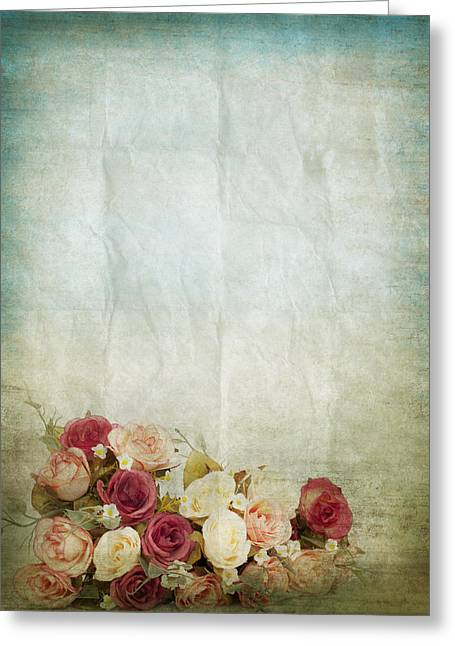 Floral Pattern On Old Paper Greeting Card by Setsiri Silapasuwanchai