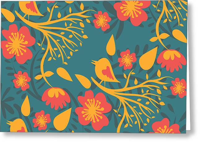 Floral Pattern With Birds Greeting Card