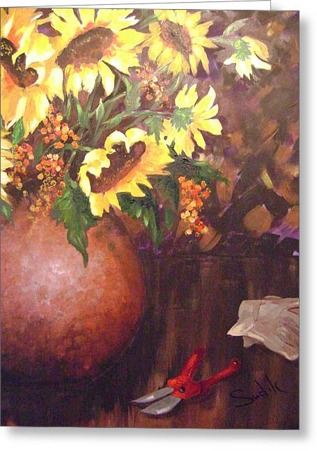 Floral Sunshine Greeting Card by Barbara Sudik