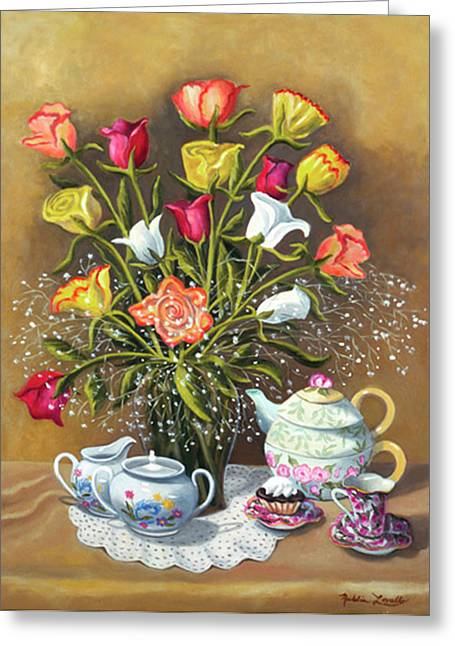 Floral With China And Ceramics Greeting Card