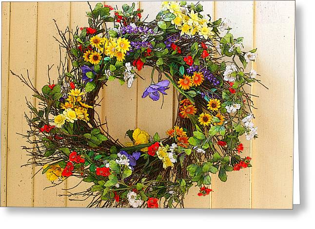 Greeting Card featuring the photograph Floral Wreath by Cindy Haggerty