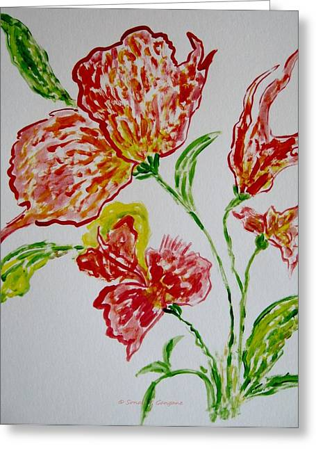 Greeting Card featuring the painting Florals by Sonali Gangane