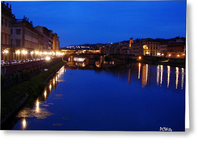 Greeting Card featuring the photograph Florence Arno River Night by Patrick Witz