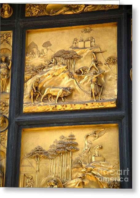 Florence Italy - Baptistry Doors Greeting Card by Gregory Dyer