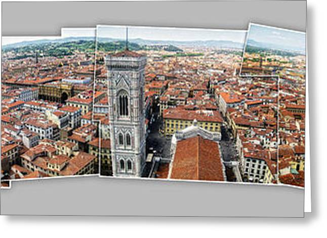 Florence Italy - Panorama -01 Greeting Card by Gregory Dyer