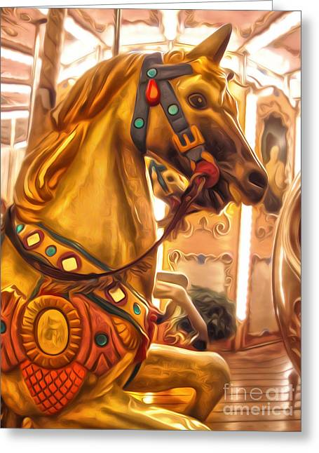 Florence Italy Carousel- 01 Greeting Card by Gregory Dyer