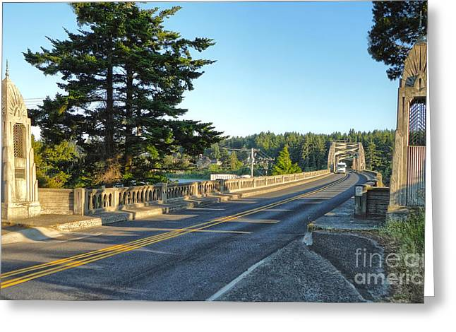 Florence Oregon - Art Deco Bridge - 02 Greeting Card by Gregory Dyer
