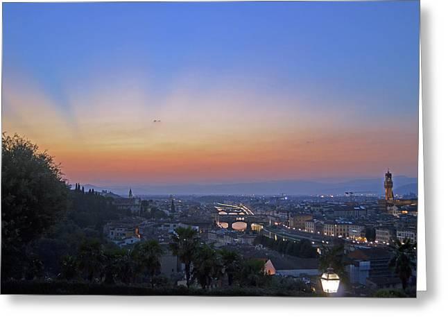Florence Sunset Greeting Card by La Dolce Vita