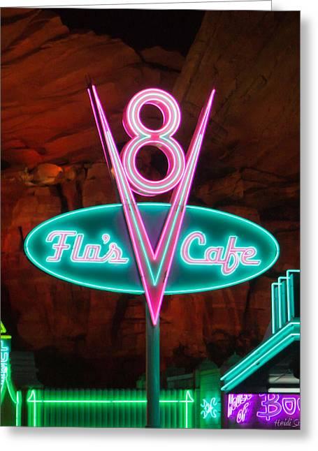 Flo's V8 Cafe - Cars Land - Disneyland Greeting Card by Heidi Smith