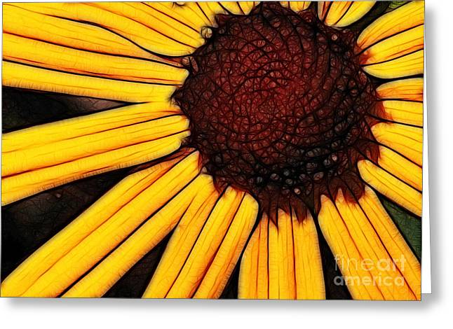 Flower - Yellow And Brown - Abstract Greeting Card by Paul Ward