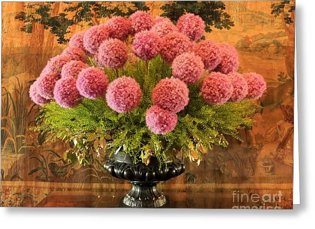 Flower Arrangement Chateau Chenonceau Greeting Card