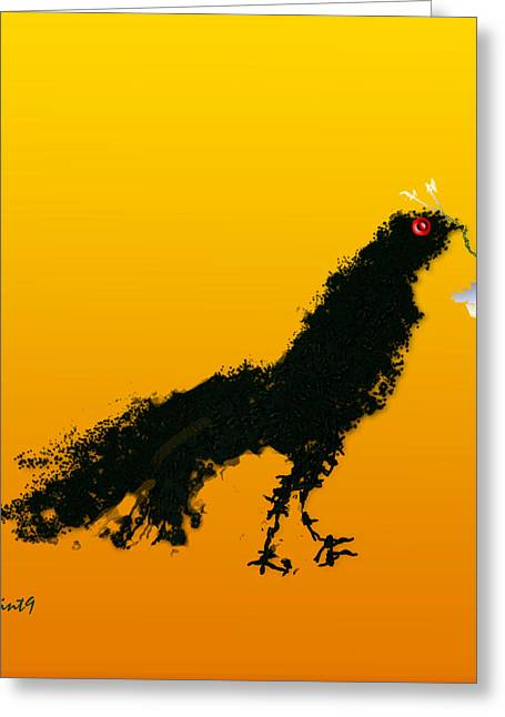 Greeting Card featuring the digital art Flower Bird by Asok Mukhopadhyay