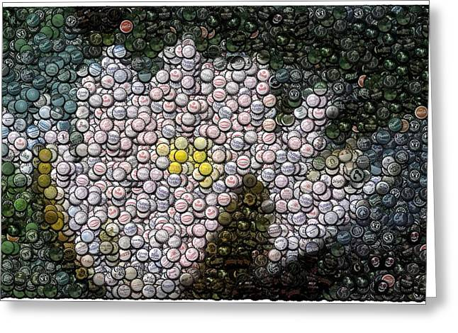 Flower Bottle Cap Mosaic Greeting Card by Paul Van Scott