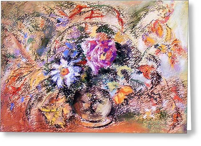 Greeting Card featuring the painting Flower Burst Mixed Bouquet by Richard James Digance