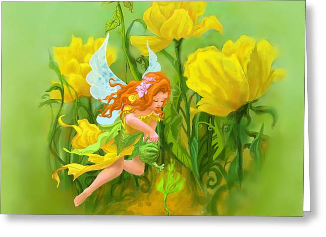 Flower Fairy Greeting Card by Shaina  Lee
