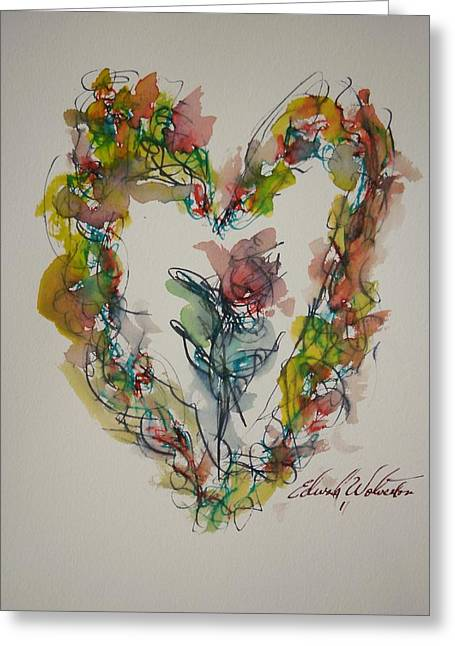 Flower Heart Song Greeting Card by Edward Wolverton