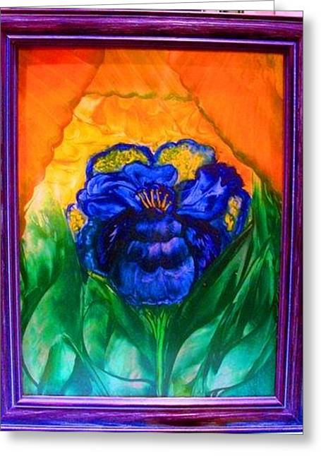 Flower Indigo Greeting Card