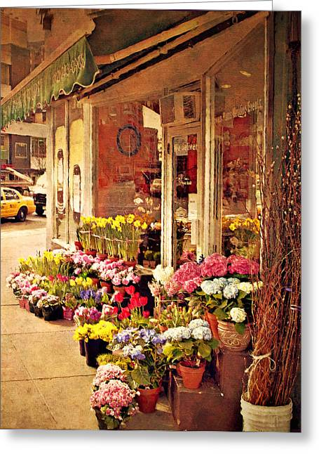 Flower Market Greeting Card by Kathy Jennings