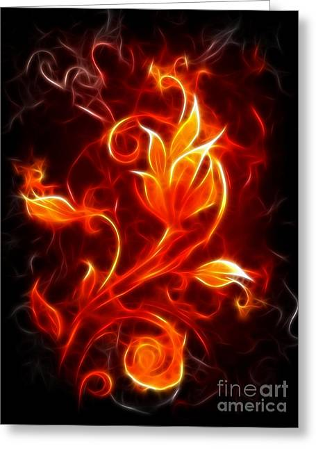 Flower Of Fire Greeting Card by Pamela Johnson