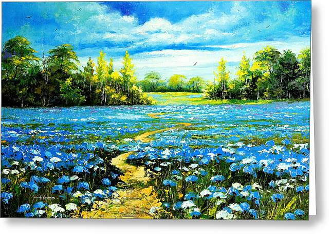 Flower Path Way Greeting Card by Nelsons