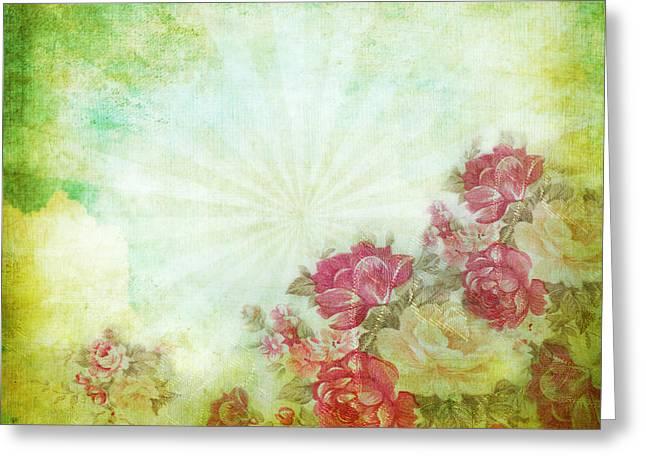 Flower Pattern On Paper Greeting Card by Setsiri Silapasuwanchai