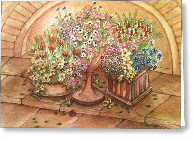 Flower Pots 2 Greeting Card by Cecilia Putter