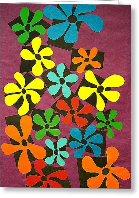 Various Tapestries - Textiles Greeting Cards - Flower Power Greeting Card by Teddy Campagna