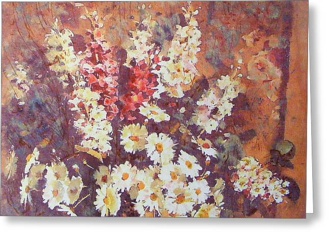 Greeting Card featuring the painting Flower Profusion  by Richard James Digance